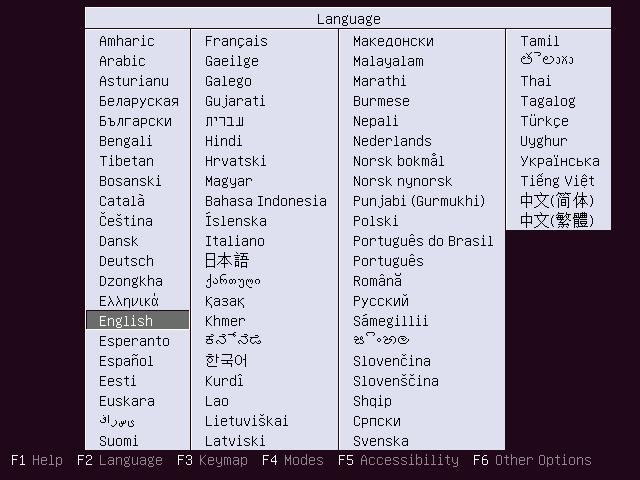 Выберите язык установки сервера Ubuntu 16.04