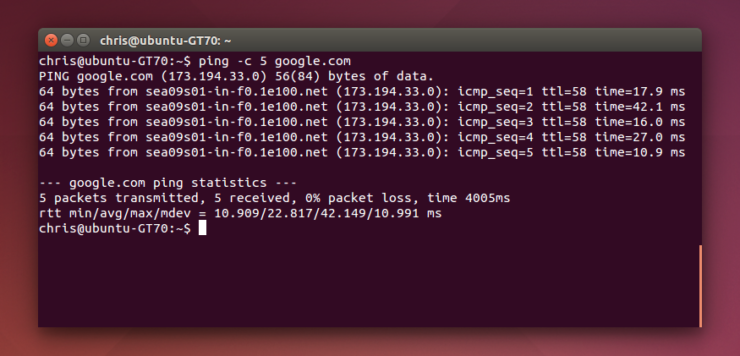 Команда Ping в Linux