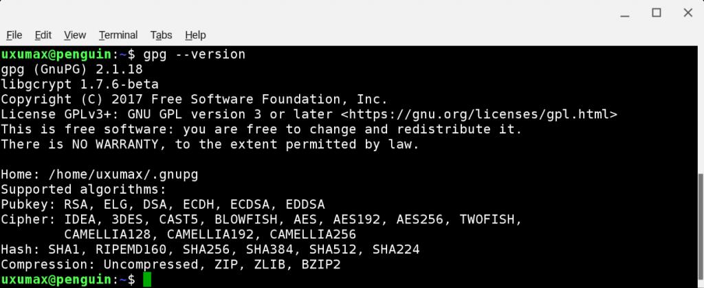 Проверка наличия установленной GnuPG