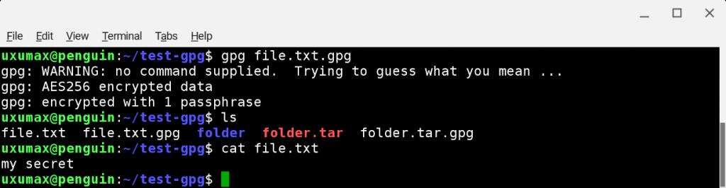 GnuPG: дешифровка файла упрощенной командой