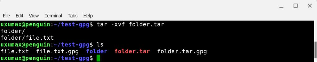 GnuPG: распаковывание архива с папкой после дешифровки