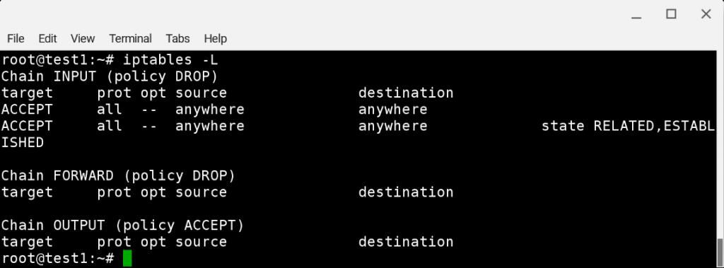 Debian 9: просмотр списка правил iptables