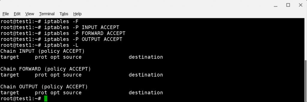 Debian 9: сброс всех правил iptables
